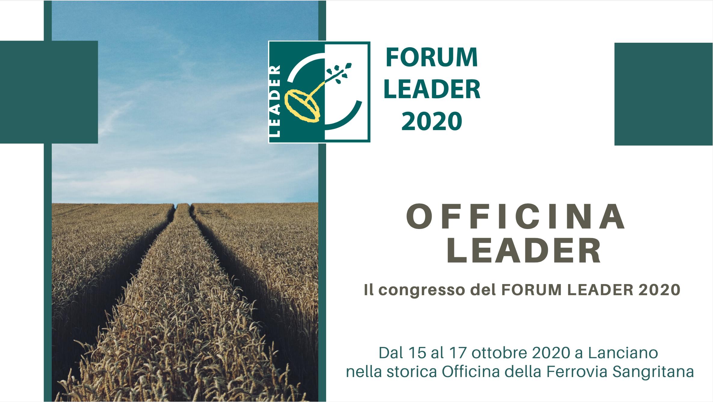OFFICINA LEADER, il congresso del FORUM LEADER 2020: guida e programma